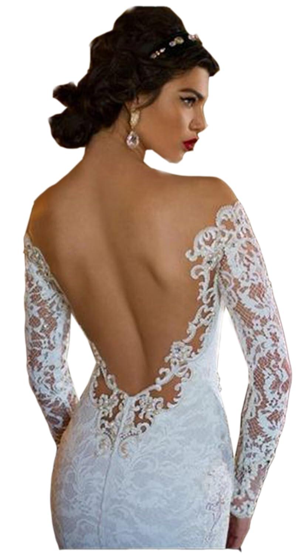 Ikerenwedding Womens Off-Shoulder Backless Lace Applique Mermaid Wedding Dress