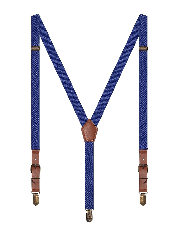 Irypulse Unisex Retro Hosenträger Y-Form 3 Klassische Messing Clips für Herren Damen Jugendliche, Hosenträger Fit für 150-180cm Höhe FG019C