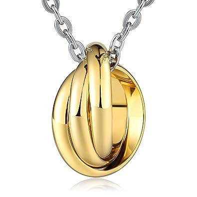 Adisaer Collar De Hombre Acero Inoxidable Oro Anillos Ronda ...