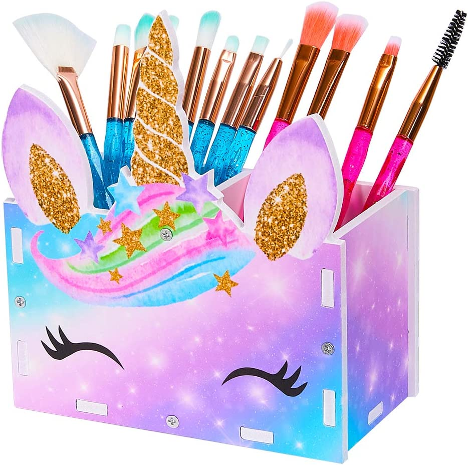 MHJY Unicorn Pencil Holder Organizer Makeup Brush Holder for Girls, 2 Slots Cosmetic Pen Desktop Stationery Organizer for Office,Classroom,Home,Purple Blue