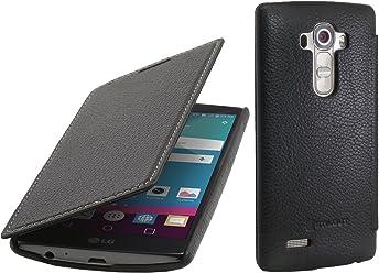 StilGut Book Type Case con clip, custodia in vera pelle a libro per LG G4, nero