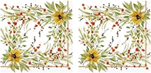 Harvest Sunflower Medley 3-Ply Paper Cocktail Napkins 40-Count, Autumn Fall Decor Barware Beverage Serviettes