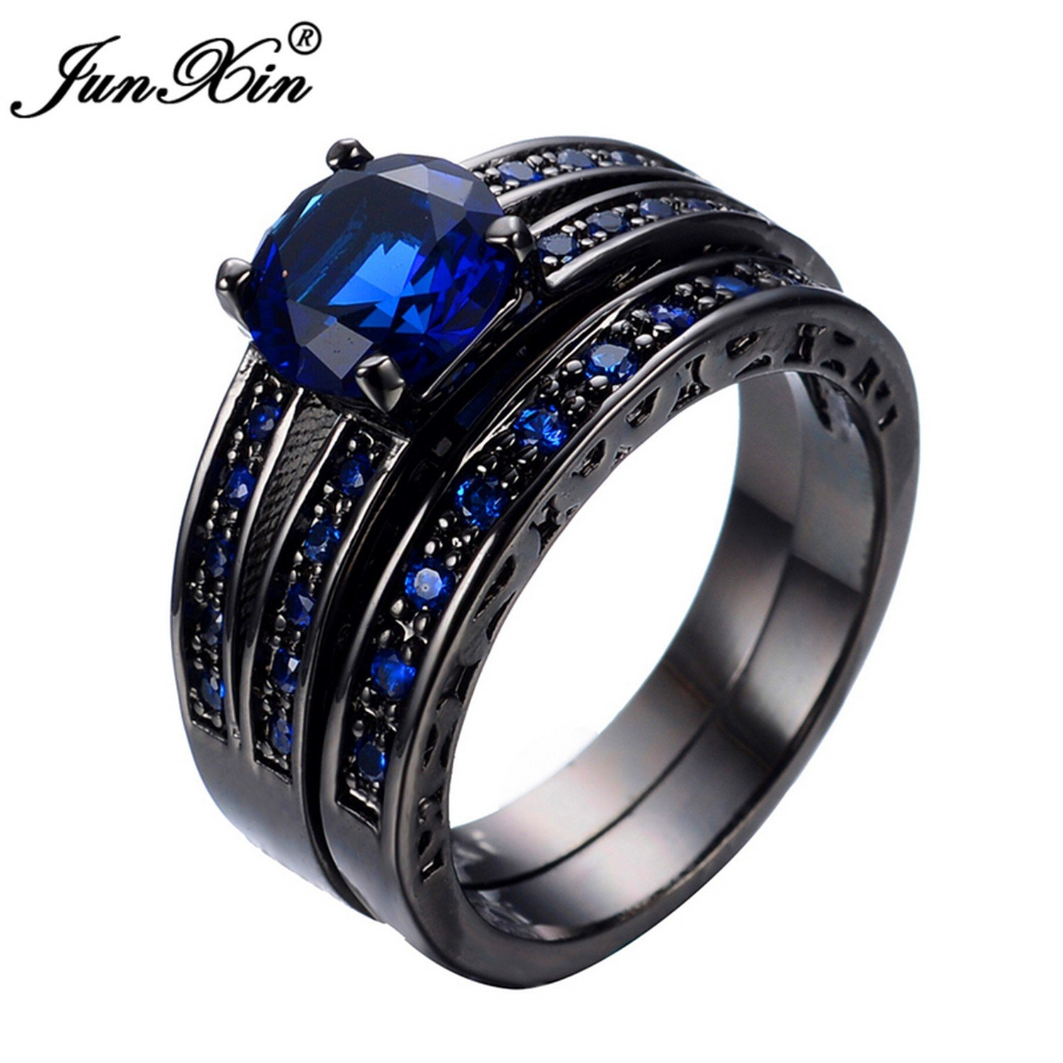 Slyq Jewelry Black gold Filled bluee Jewelry Rings for Women and Men Wedding Engagement Ring Set