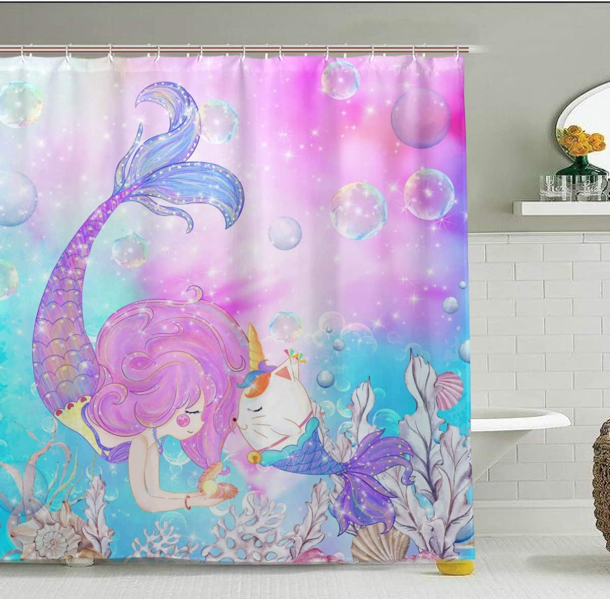 Zoeo Girls Mermaid Shower Curtain Unicorn Cat Fish Fabric Waterproof Large Window Bathroom Tub Curtains Sets Mermaid Home Decor 12 Hooks 72x72 Inch Home Kitchen Amazon Com