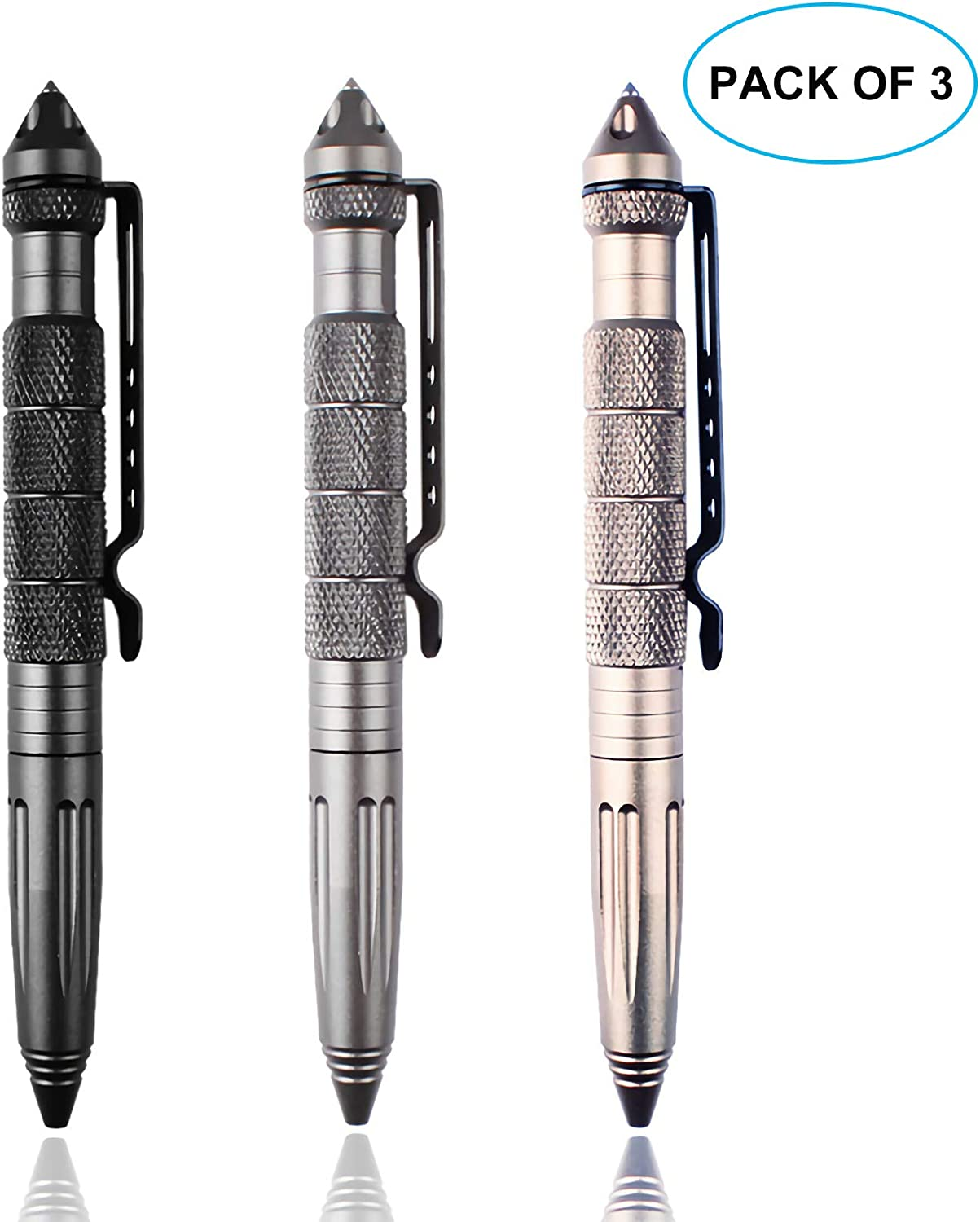 Pack of 3 Aircraft Aluminum Defender Tactical Pen Military or Police Outdoor Survival Tool