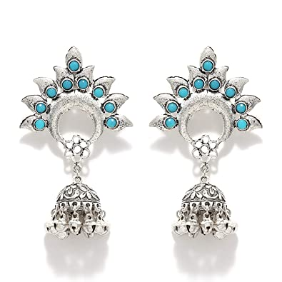0eff36a8d70ba Buy Beaded Stud German Silver Jhumka Earrings Online at Low Prices ...
