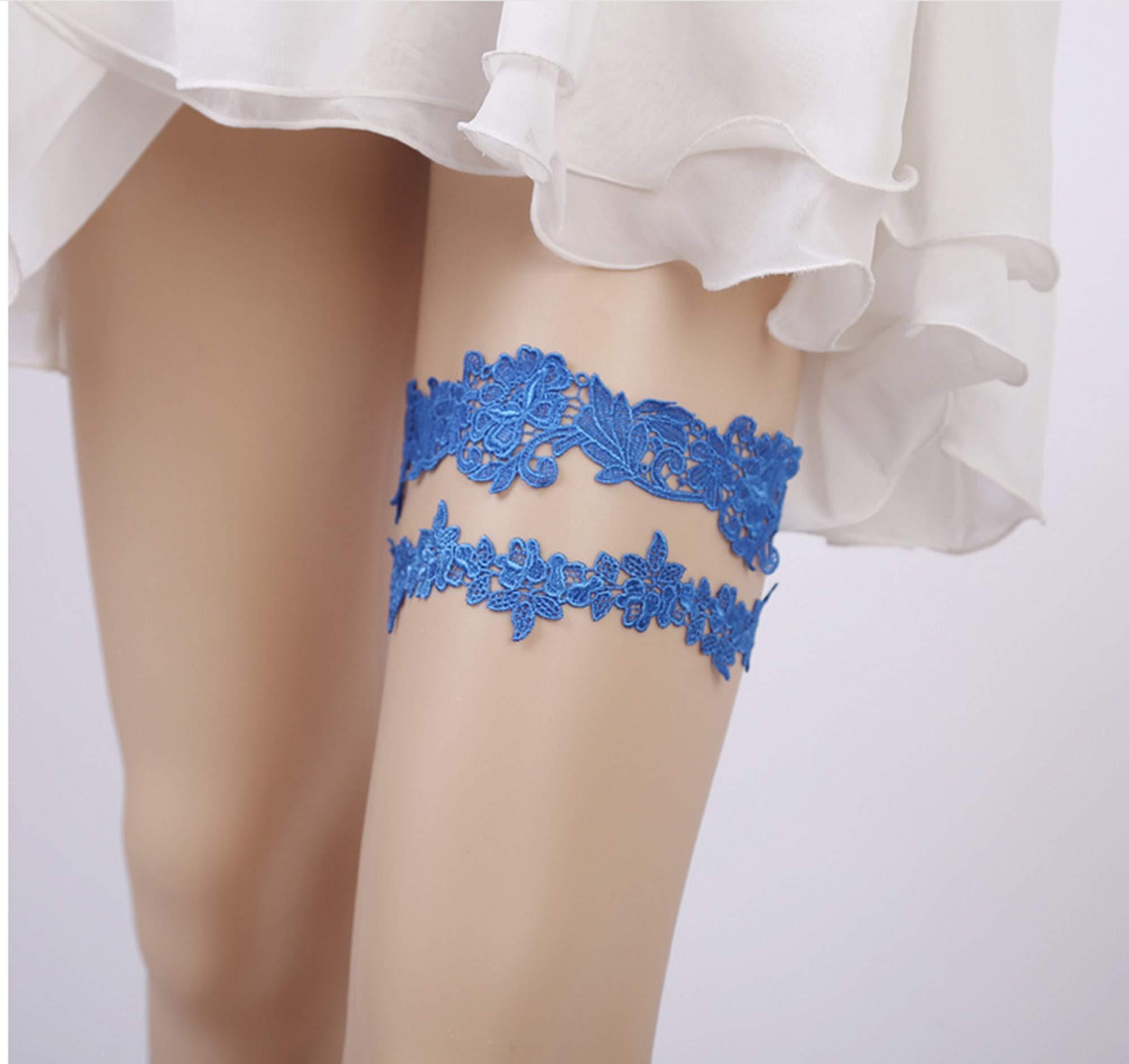 WINCSPACE Handmade Lace Crystal Applique Wedding Garter Belt Set Bridal Leg (colour7)
