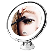 BESTOPE 10X Magnifying Lighted Makeup Mirror with 16 Natural Led Lights,360°Rotation Locking Suction,Dimmable Light,Battery Operated,Portable Bathroom Mirror
