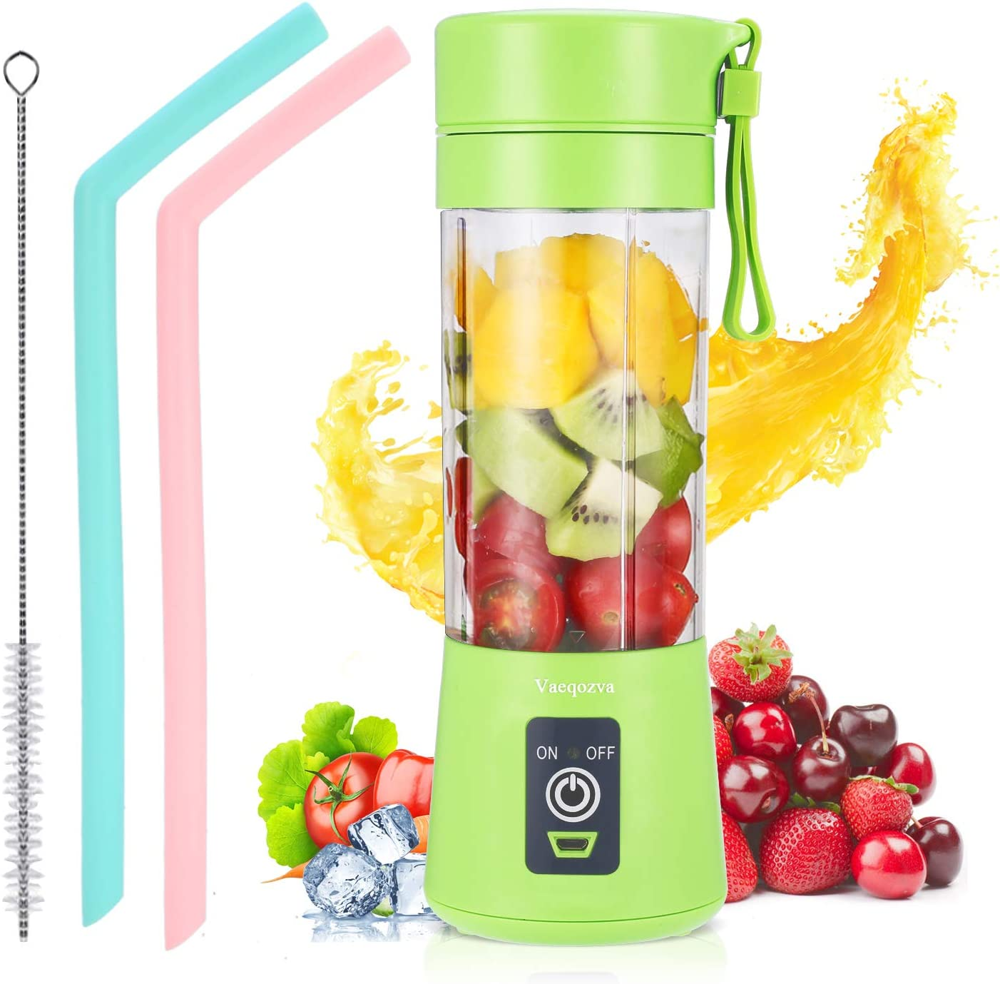 Portable Blender Personal USB Rechargeable Juicer Cup Smoothies and Shakes, Handheld Fruit Mixer Machine with Straws (Green)