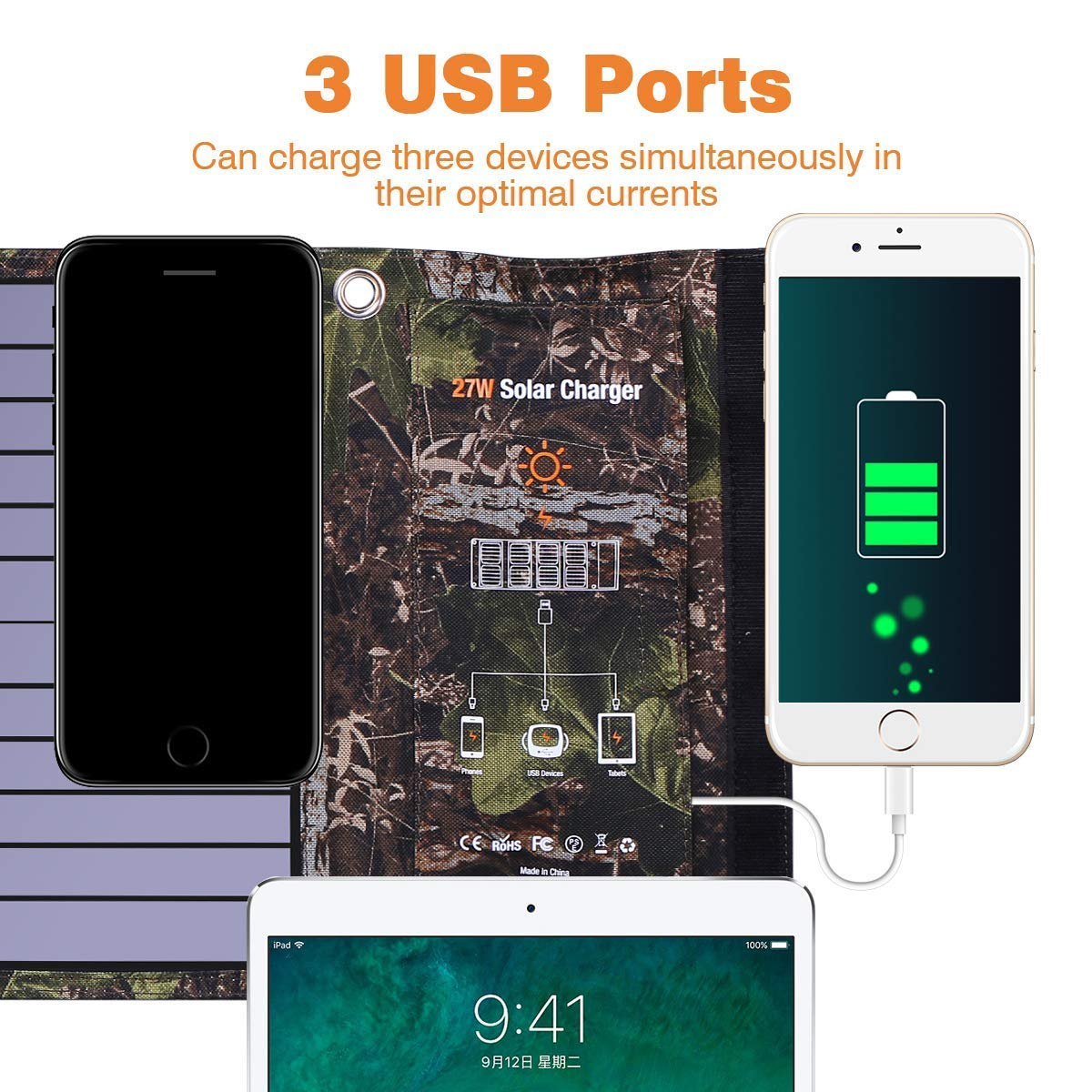 Dohiker Portable Foldable Solar Panel Charger, 27W Solar Phone Charger with 3 USB Ports,Durable & Waterproof Solar Charger for Cell Phone, PowerBank, and Electronic Devices, Great for Camping, Hiking by Dohiker (Image #3)