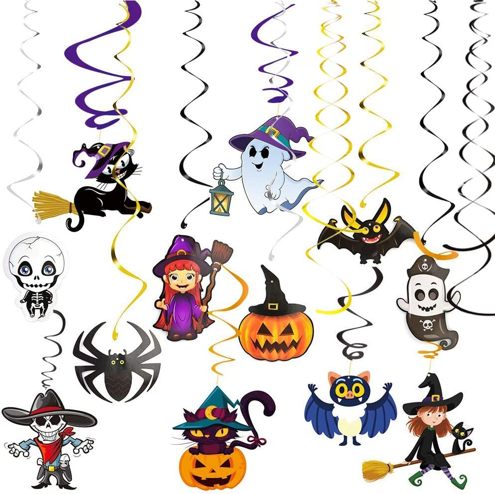 Halloween Hanging Swirl Decorations, 30 Pcs Colorful Ceiling Whirl Streamers Spirals Foil with Bat Witch Skull Spider Ghost Pumpkin Monster Cards Party Supplies for Home Outdoor Indoor Decor