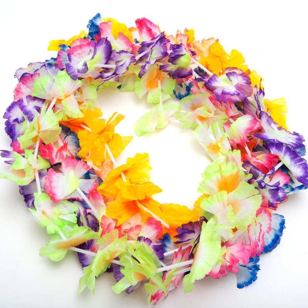 Amazon 12 hawaiian luau jumbo silk flower leis tropical party amazon 12 hawaiian luau jumbo silk flower leis tropical party toys games izmirmasajfo