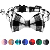 TagME Breakaway Cat Collar, Cat Safety Collar with Cute Bow Tie & Bell, Plaid Design Adjustable for Kitty 1 Pack