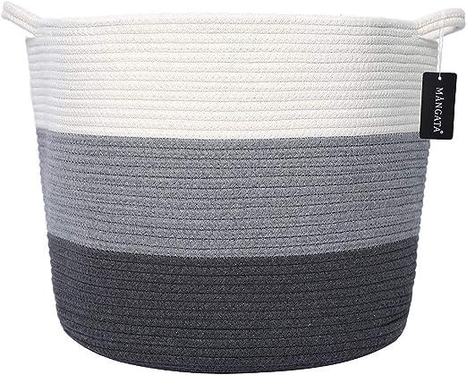 MANGATA Extra Grande Juguete para bebé Canasta de Almacenamiento Algodón Cuerda Tejida, Suave Tela Plegable Cestas de lavandería con Asas (Blanco & Gris & Azul - Ancho): Amazon.es: Hogar