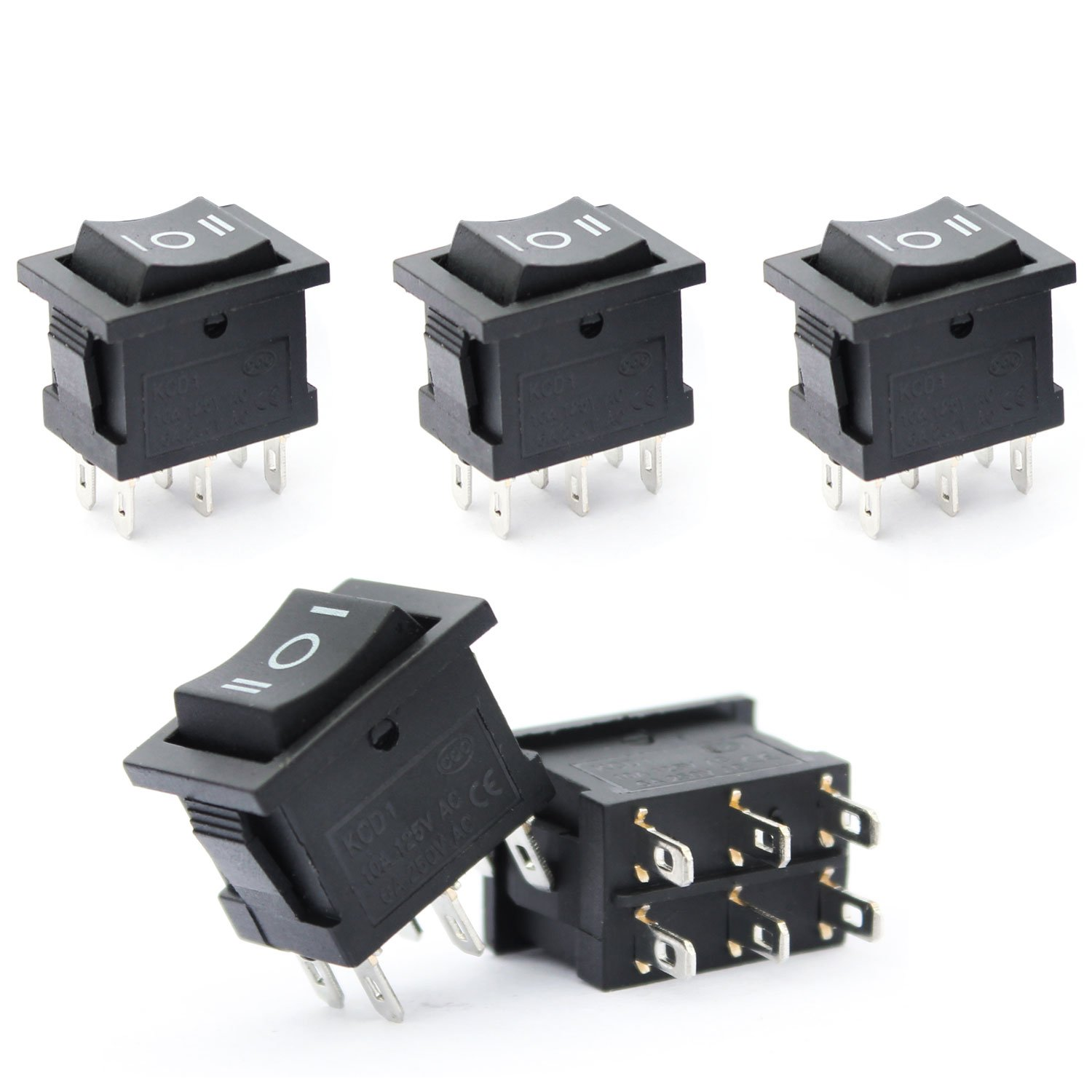 Ytian 5 Pcs On-Off-On Boat Rocker Switch for Car Household Appliances AC 6A/250V 10A/125V