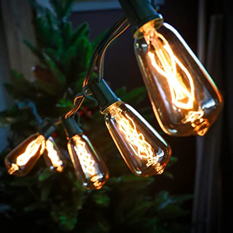 Amazoncom Set of 10 Glass ST40 Edison Style Bulb String Lights