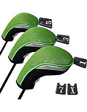 Andux 3pcs Driver couvre capuchon pour bois club interchangeables NO. tag MT/mg05 Noir/vert