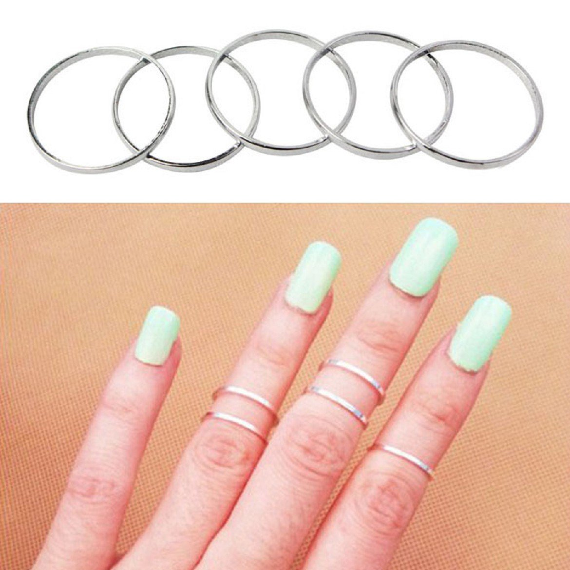 wy 2014 Susenstore 5pcs Urban Silver Stack Plain Cute Above Knuckle Ring Band Midi Ring Set Sankuwen JbK2y-[Jewelry00024]-(Silver 5pcs)
