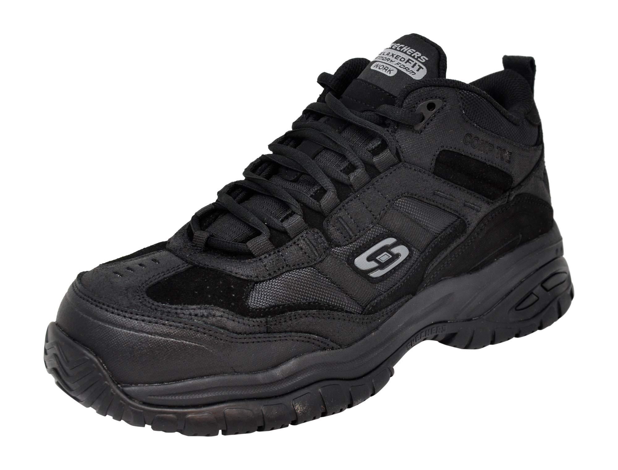Skechers Men Soft Stride Work Boot, Black/Black, 8.5 M US