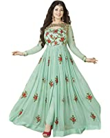 FKART Women's Georgette Embroidered Semi-stitched Salwar Suit (20_Green_Free Size)
