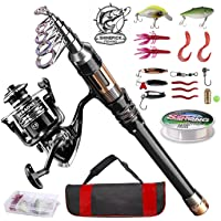 ShinePick Telescopic Fishing Rod Kit Spinning Rod Reel Combo Full Kit with Line Lures Hooks Carrier Bag for Travel…