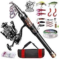 ShinePick Telescopic Fishing Rod Kit Spinning Rod Reel Combo Full Kit with Line Lures Hooks Carrier Bag for Travel…