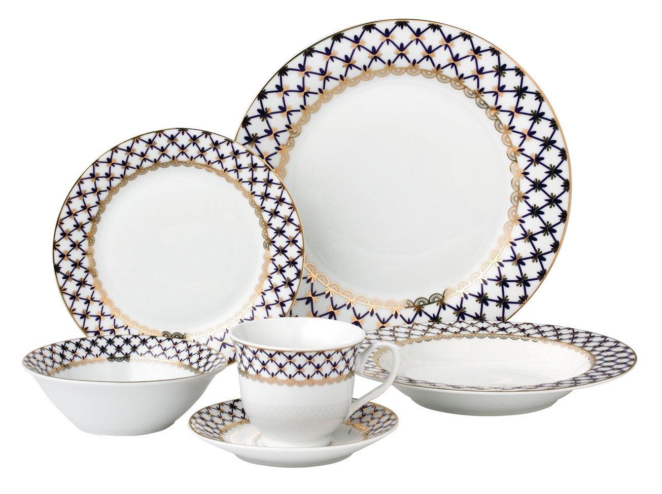 Blue Lorren Home Trends 24 Piece Porcelain Dinnerware Set Tula