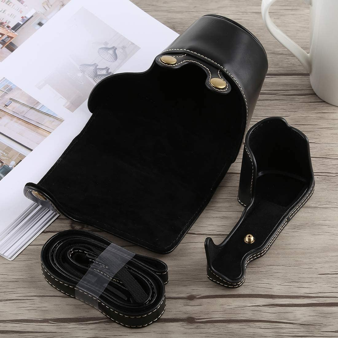 Color : Brown YANTAIANJANE Camera Accessories Full Body Camera PU Leather Case Bag with Strap for Sony A6300 Black