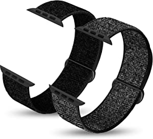 Ruiboo Pack 2 Sport Bands Compatible with Apple Watch 38mm 40mm 42mm 44mm, Lightweight Breathable Soft Sport Strap Replacement Compatible with iWatch Series 1/2/3/4/5/6, SE