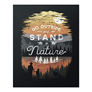 Wilderness Nature Lover Art Print Mountain Forest Trees Outdoor Inspiration Wall Poster Hiking Lake Reflection Home Decor 8 x 10 inches