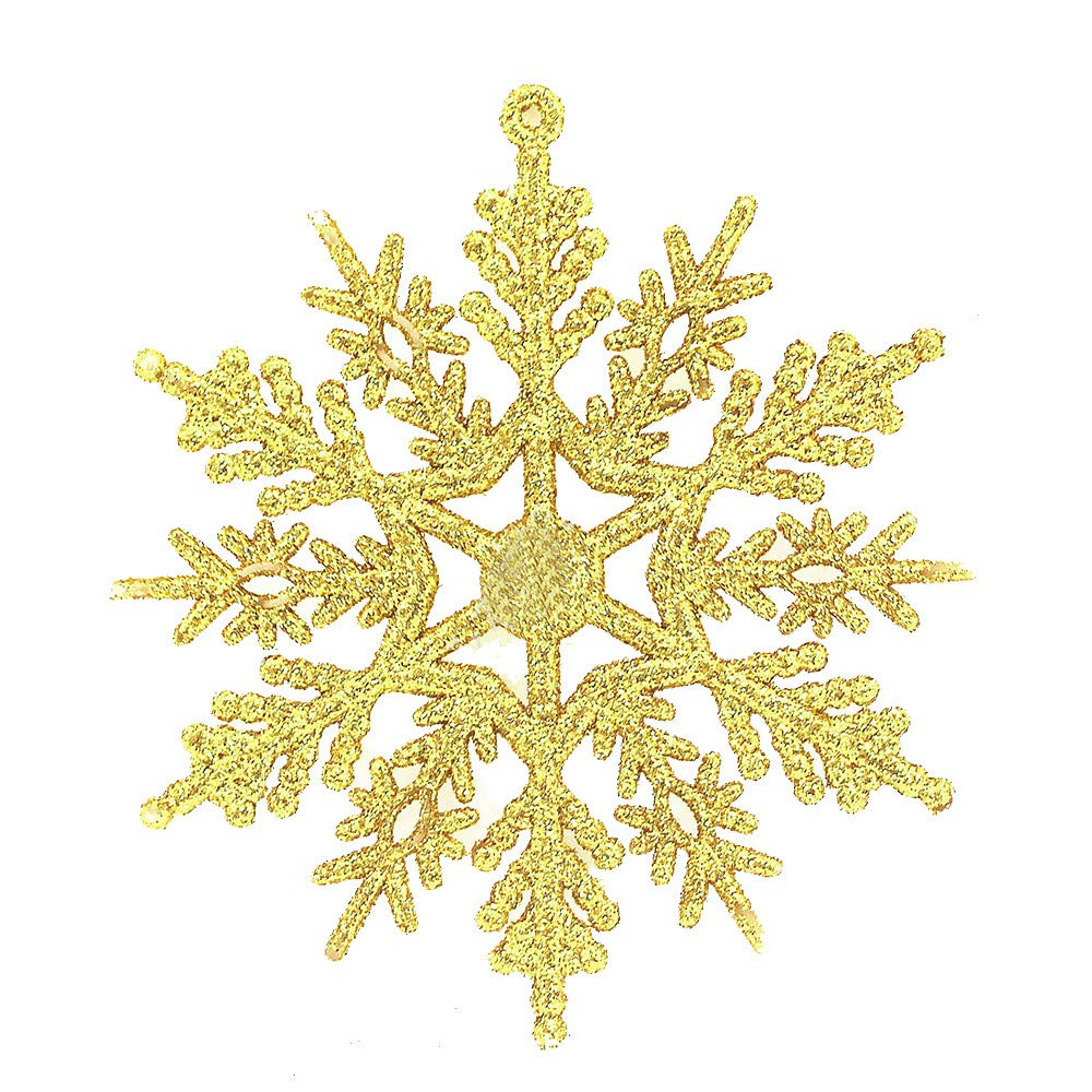 Cyhulu Glitter Christmas Snowflake Ornaments(Pack of 6Pcs), Hot Xmas Tree Snowflake Craft Party Home Hanging Decoration (Gold, One size)