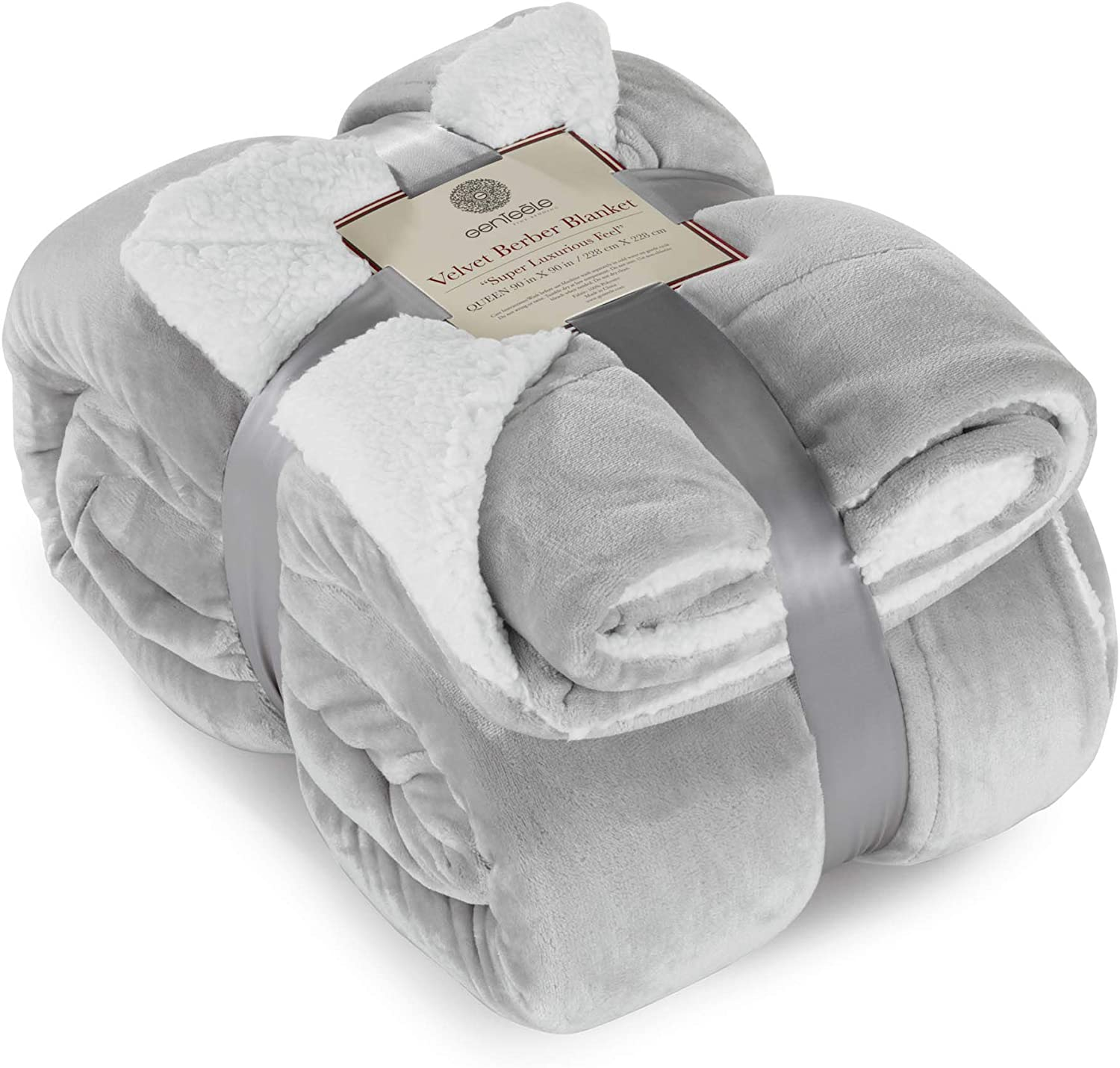 Genteele Sherpa Throw Blanket Super Soft Reversible Ultra Luxurious Plush Blanket (40 inches x 50 inches, Silver)