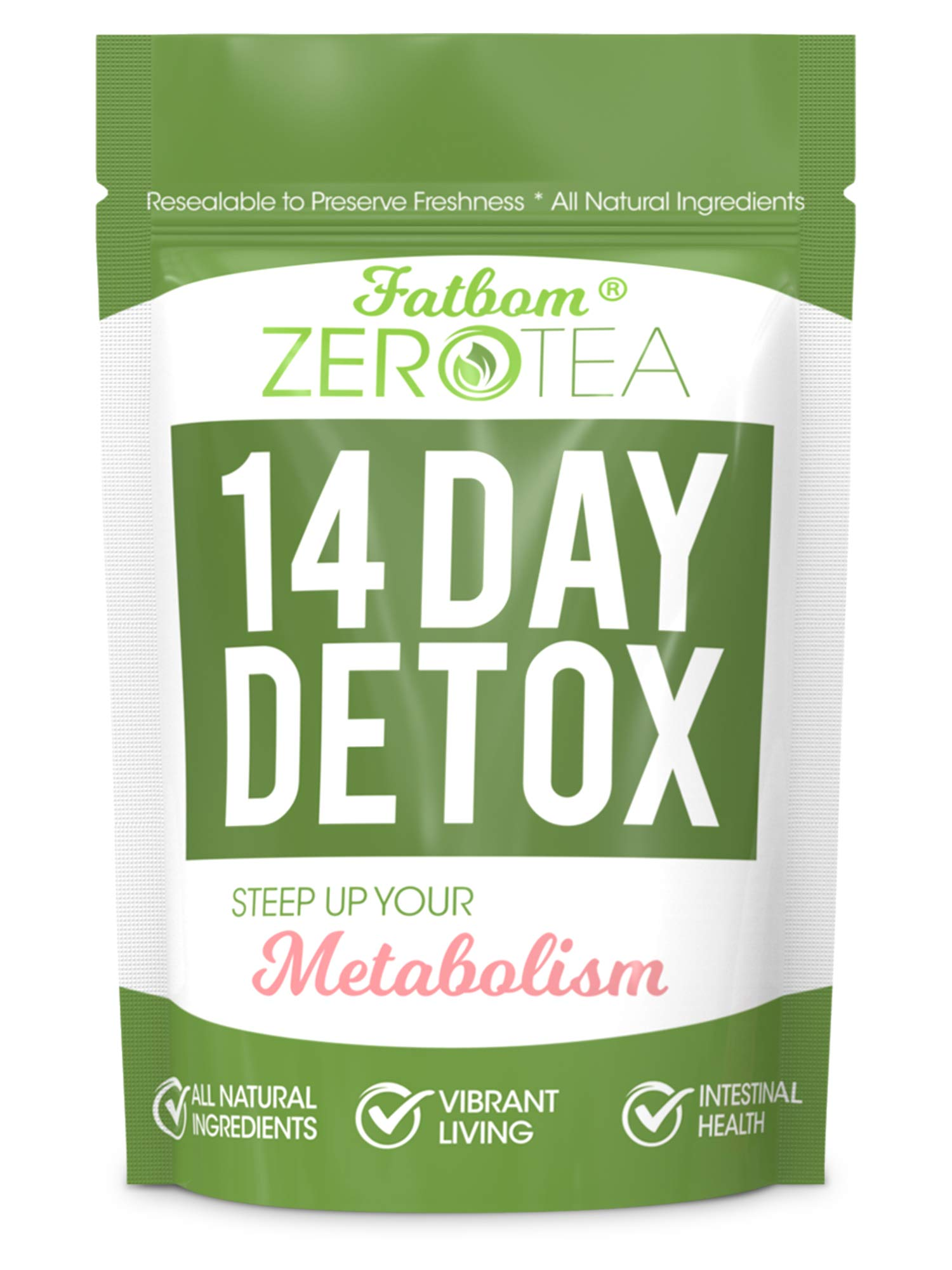 Zero Tea 14 Day Detox Tea, Weight Loss Tea, Teatox Herbal Tea for Cleanse by FATBOM