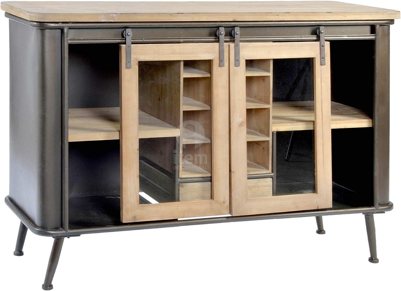 DRW Buffet aparador de Madera Abeto y Metal con 2 Puertas corredera y botellero + cajón Negro y Madera Clara 119,5x30,5x80,5cm: Amazon.es: Hogar