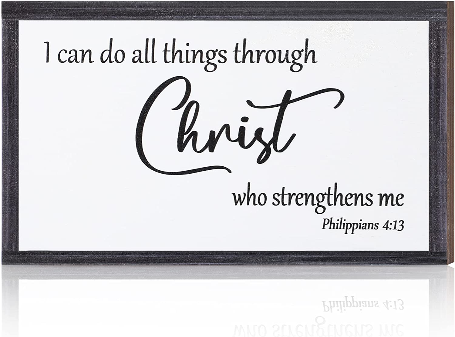 Inspirational Wooden Hanging Wall Plaque Christian Wall Art I can do All Things Through Christ who Strengthens me Religious Wood Bible Verse Sign Decor for Living-room Bedroom, 10 x 6 x 0.2 Inch