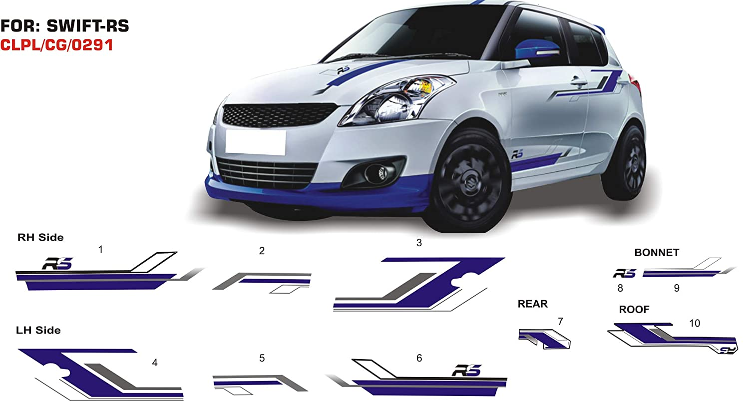 Automaze sticker graphics for maruti suzuki swift rs 0291 set of 2 blue grey amazon in car motorbike