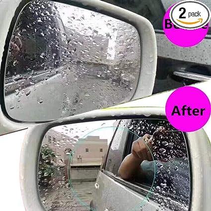 FMS 2 Pcs HD Car Rearview Mirror Rainproof Protective Film Oval Rainproof Film Nano Coating Waterproof Anti Fogging Rain Mist Water Glare Oval*2