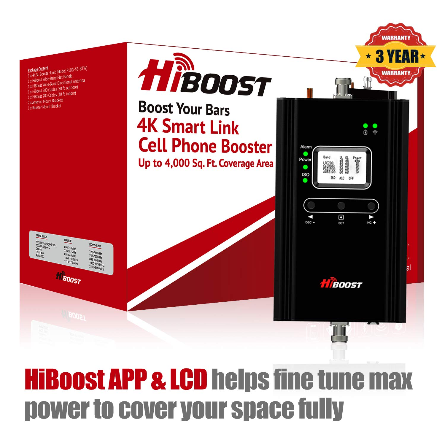 HiBoost 4K Smart Link - Cell Phone Signal Booster - Improves Reception on Phones, Tablets and Hotspots - Cell Booster to Support all Carriers - For Homes and Offices. Boost up to 1,000 - 4,000 Sq. Ft.
