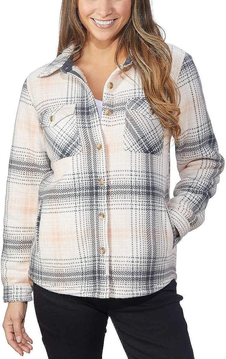 Soho Threads Women's Sherpa-Lined Shirt Jacket, Black/White Houndstooth