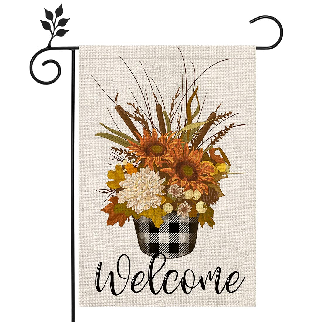 CROWNED BEAUTY Fall Welcome Garden Flag Floural Buffalo Plaid 12×18 Inch Double Sided Vertical Yard Thanksgiving Seasonal Holiday Outdoor Decor CF209-12