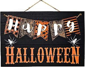 """Halloween Wall Front Door Sign Decor Wood Burlap Indoor Outdoor 17.5""""x11.5"""" (Happy Halloween)"""