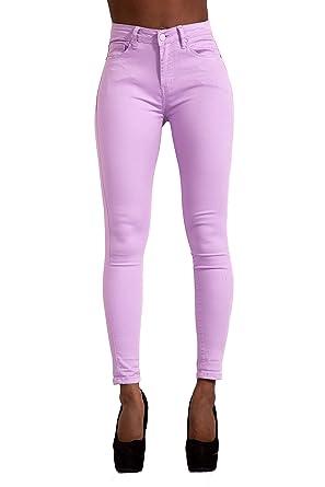 LustyChic Vaqueros Mujer Push Up Tejanos Mujer Cintura Alta Pantalones Pitillos Elasticos Jean de Mujer de Color Talla 34 a 44