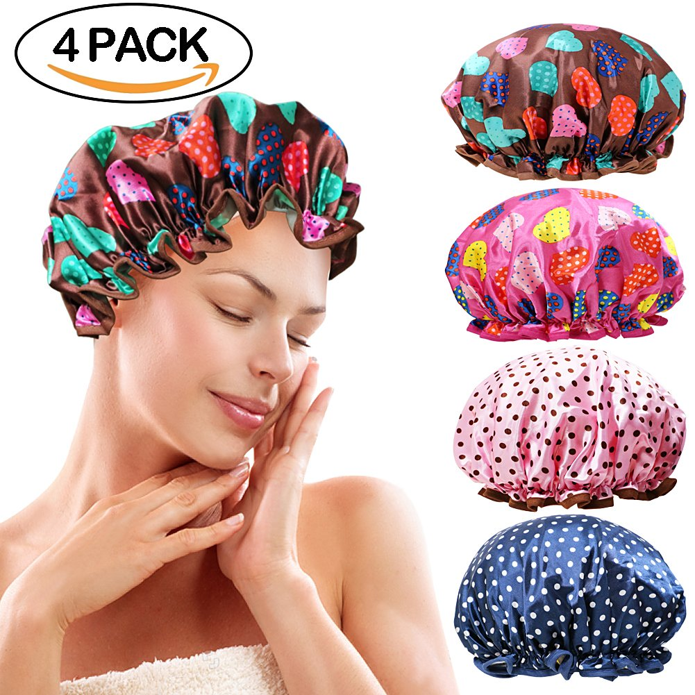 Onshine Shower Cap Double Layer Waterproof Shower Hat Elastic Band Beautiful Color Dot Pattern 4 Pack Fashionable Shower Caps for Women (Heart)