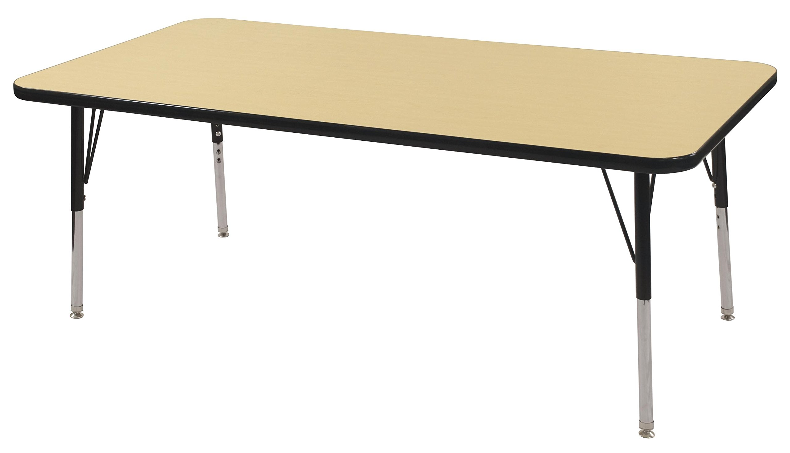 ECR4Kids Mesa Thermo-fused 30'' x 60'' Rectangular School Activity Table, Standard Legs w/ Swivel Glides, Adjustable Height 19-30 inch (Maple/Black)