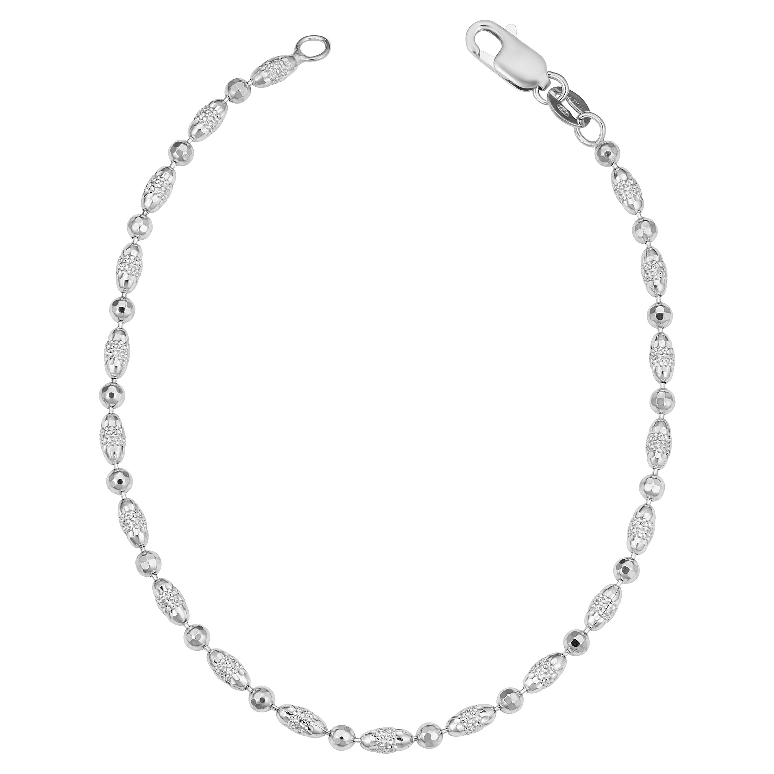Sterling Silver Alternate Round And Oval Beads Anklet (2.5mm, 9 inch)