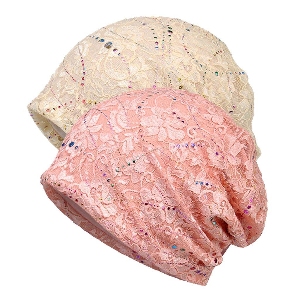 Boboder Femmes Chemo Chapeau Stripe Lace Beanie Chapeau Coton Doux Turban Chapeaux Wraps