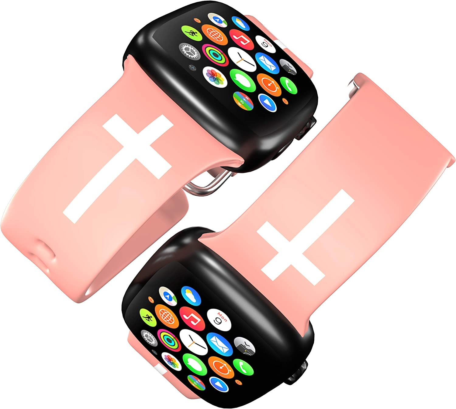 FaithSign 42-44 mm Apple Watch Compatible Band with Bible Verse - Christian Cross Religious Print - Smart Watch Wristband for Men, Women - Breathable Strap for Fitness, Sport, Casual Wear - Pink
