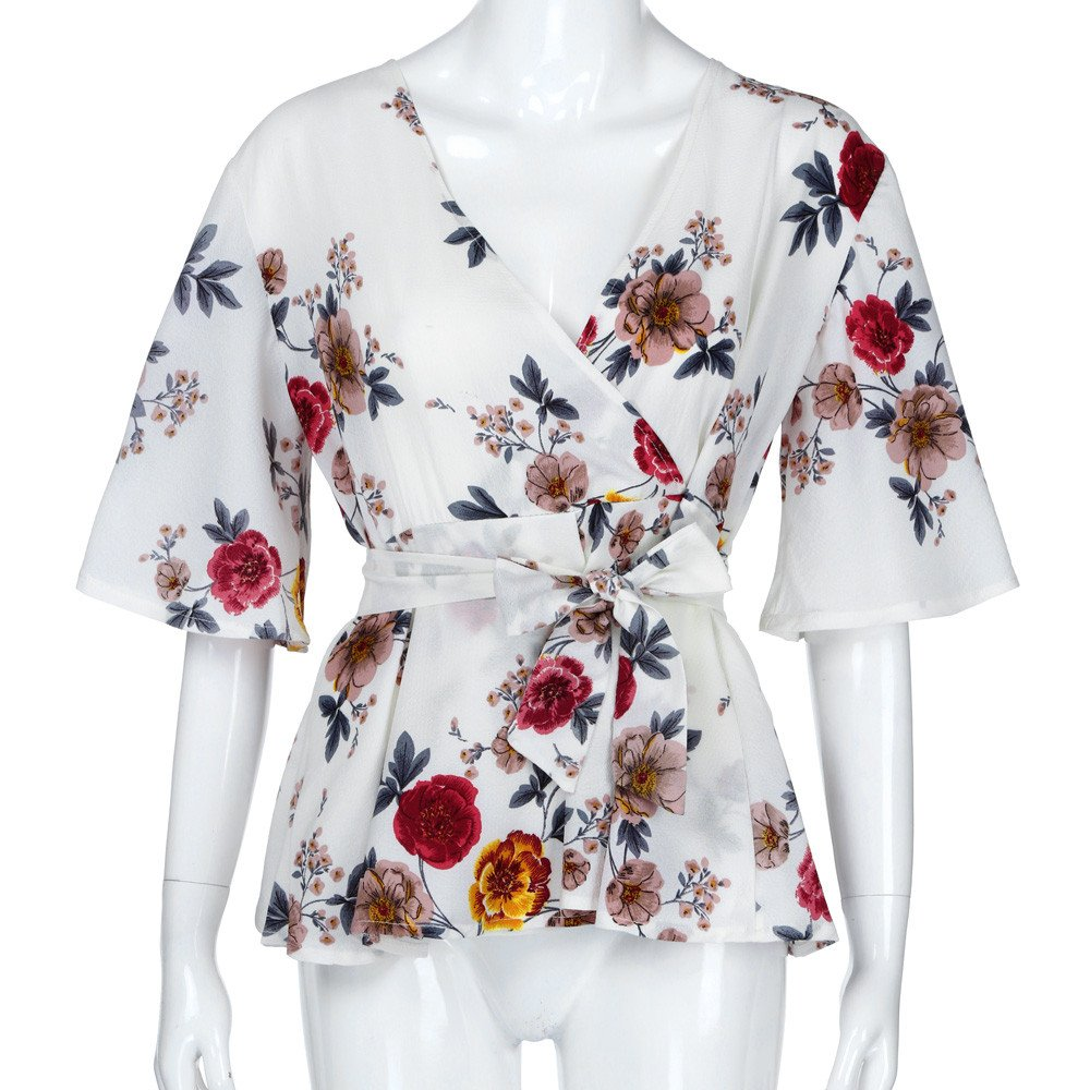 44eb9f39837321 LEXUPA Fashion Womens Floral Print Plus Size Belted Surplice Peplum Blouse V -Neck Tops at Amazon Women's Clothing store: