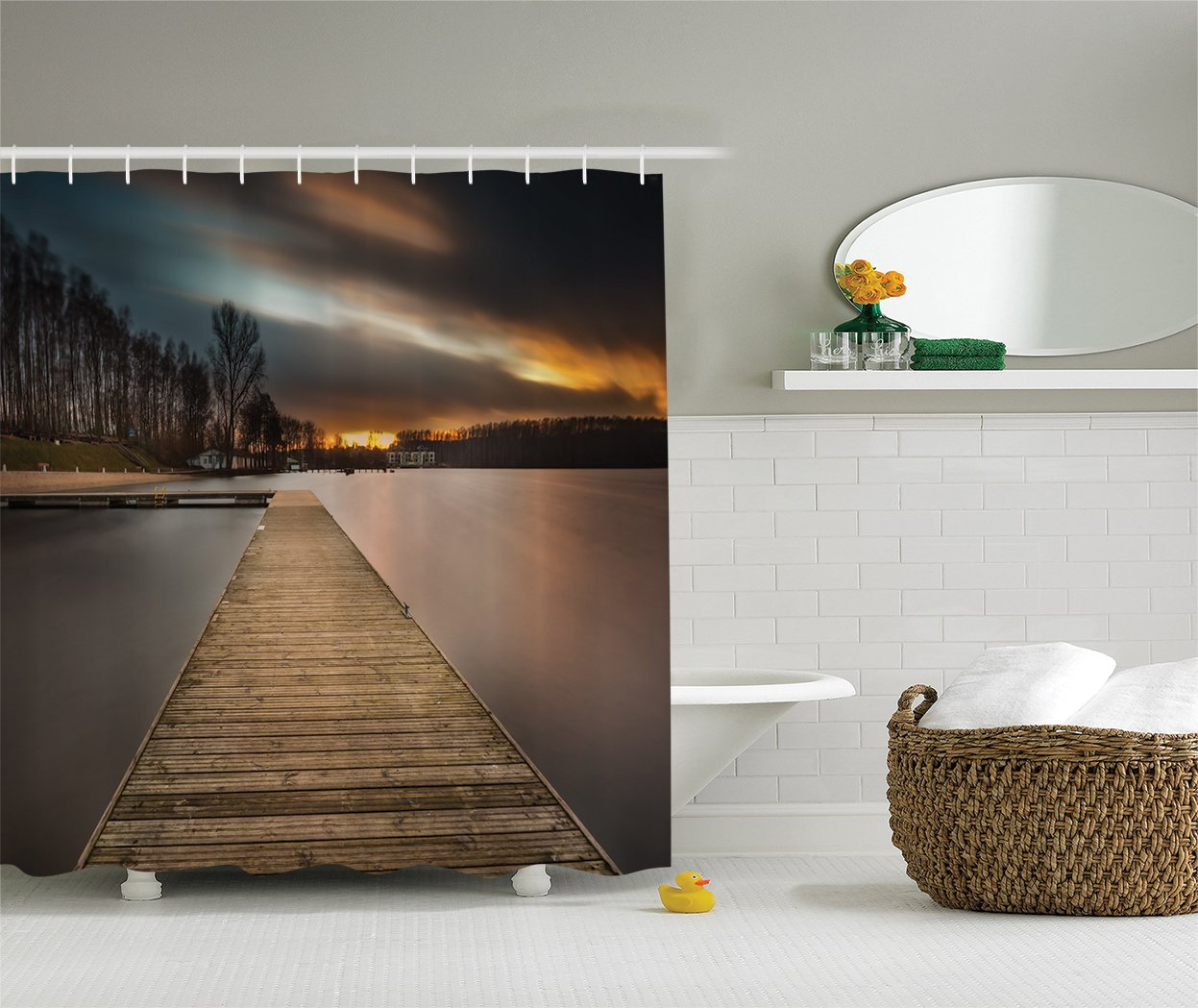 Ambesonne Wooden Bridge Decor Collection, Lake Landscape with Jetty Cloudy Dramatic Sky Sunset View, Polyester Fabric Bathroom Shower Curtain Set with Hooks, Ivory Beige Orange