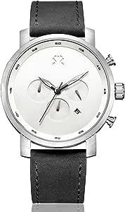 ROSHT Men's Chronograph Watch Black Leather Band, Blue Hand, White Dial G185003WT